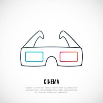 3d-bioscoopbrilpictogram in eenvoudige lijnstijl
