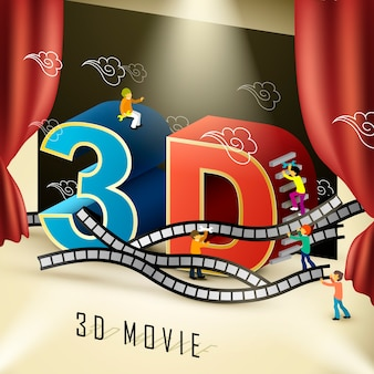 3d bioscoopconcept in 3d isometrisch plat ontwerp