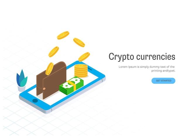 3d bitcoin knalt uit portemonnee met bankbiljetstapel over smartphone voor crypto-valutaconcept. webbanner of posterontwerp.