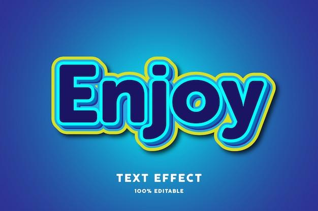 3d blauw met geel omtrek teksteffect, bewerkbare tekst