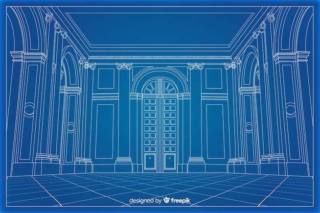 3d blauwdruk arhitectural van een gebouw