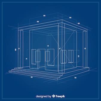 3d-blauwdruk van een bouwproject