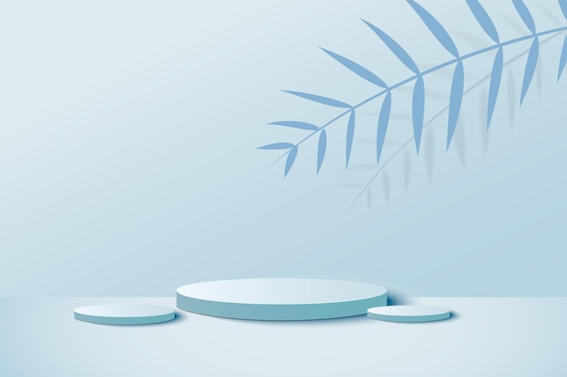 3d-blauwe pastel weergave met podium en minimale blauwe muurscène
