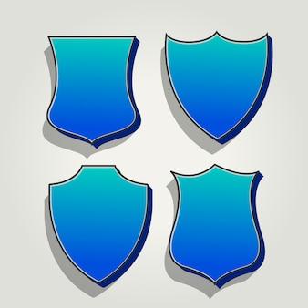 3d blauwe set badges en labels