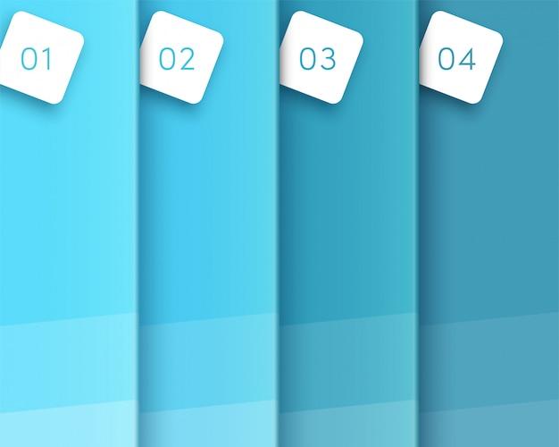 3d blauwe verticale tekstruimtesjabloon stappen één tot vier