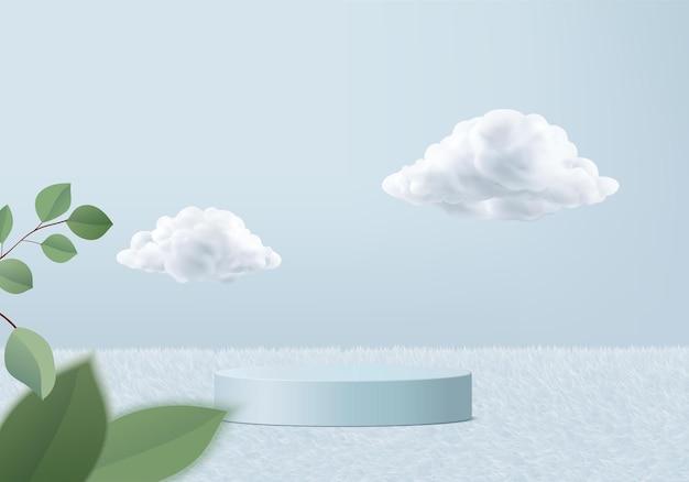 3d-blauwe weergave met podium en minimale wolkenscène, minimale productweergave 3d-gerenderde geometrische vorm luchtwolk blauwe pastel. stage 3d render product in platform