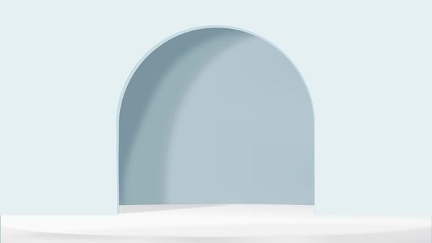 3d boog product achtergrond vector in blauwe eenvoudige stijl