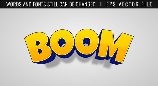 3d boom game teksteffect. komische stijl