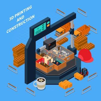 3d-bouw isometrisch concept