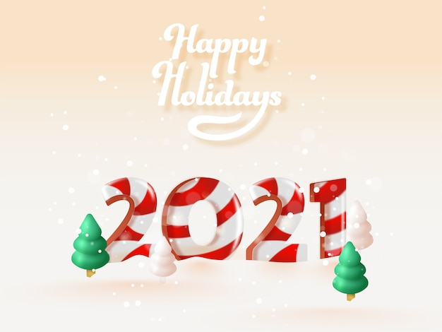3d candy cane 2021-nummer met besneeuwde kerstboom op perzik bokeh-achtergrond voor fijne feestdagen