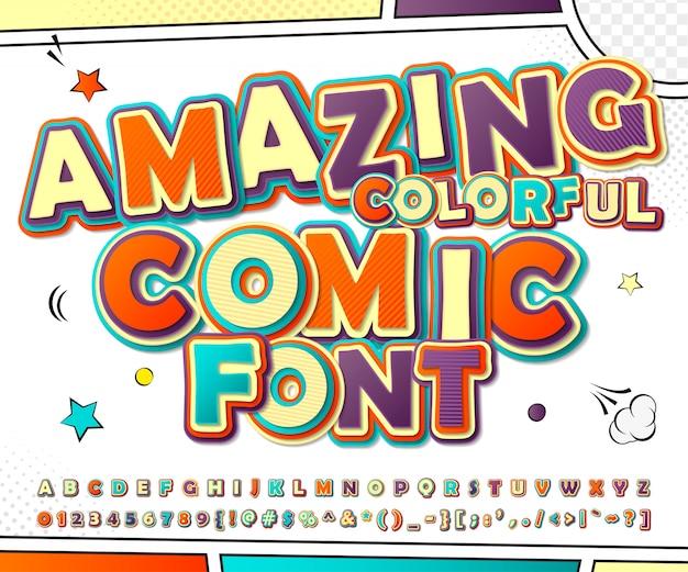 3d cartoon alfabet in strips en pop-art stijl. grappig doopvont van letters en getallen voor de pagina van het decoratiestrippaginaboek