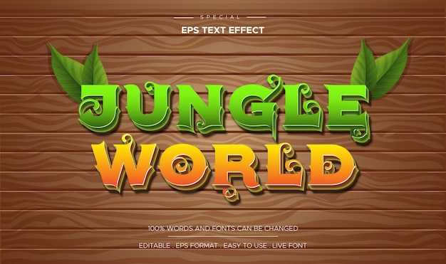 3d cartoon spelstijl houten tafel achtergrond met bos wereld bewerkbaar teksteffect