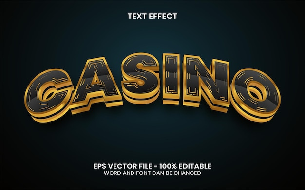3d casino teksteffect gouden stijl bewerkbaar teksteffect