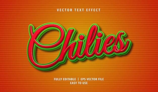 3d chilipeperteksteffect, bewerkbare tekststijl