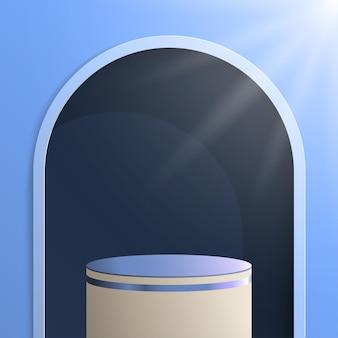 3d cilindrische podium vectorillustratie met zonlicht