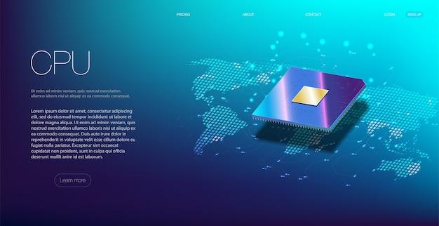 3d close-up van cpu voor webdesign. geïntegreerde communicatieprocessor.