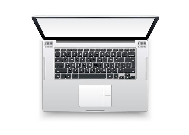 3d-computer met gedetailleerd toetsenbord, scherm, touchpad