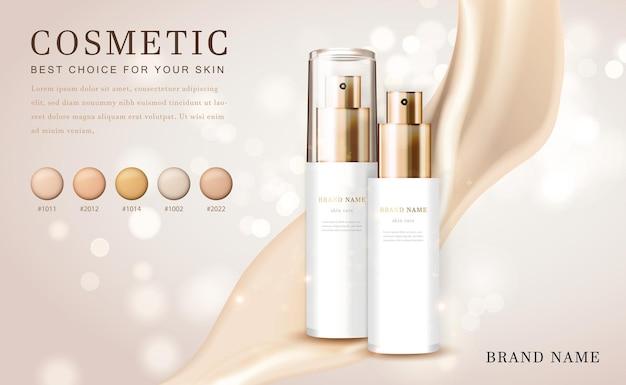 3d cosmetische make-up illustratie foundation product fles met romig glanzend elegant
