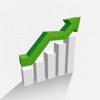 3d diagram van de groeigrafiek met schaduw
