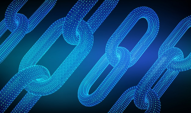 3d draadframe ketting met digitale code. kettingschakel met binaire code. hyperlinkketen. blockchain.