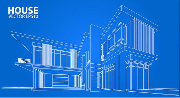 3d draadframe van de bouw. schetsontwerp. vector