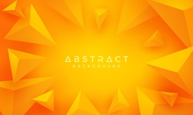3d-driehoek oranje en gele achtergrond.