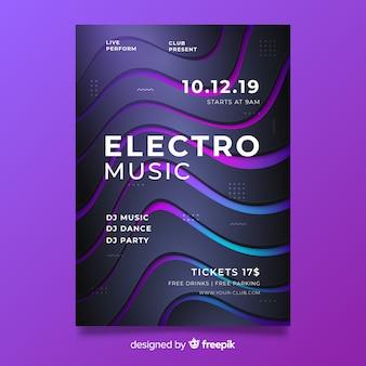 3d-effect abstracte elektronische muziek poster sjabloon