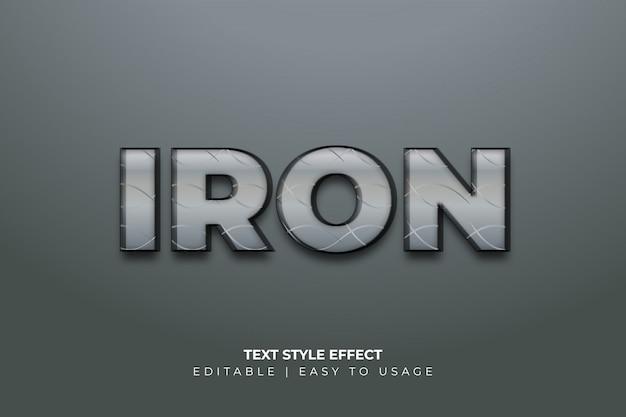 3d-effect van de stijl van de ijzertekst met gesneden textuur