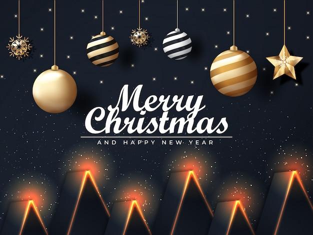 3d elegante achtergrond van kerstmis met uniek ornament