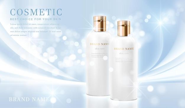 3d elegante cosmetische flessencontainer met glanzende lichtblauwe glimmende sjabloonbanner.