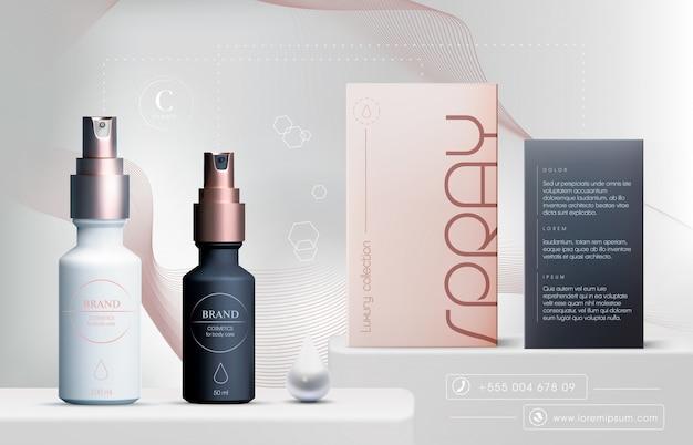 3d elegante cosmetische producten oliespray voor huidverzorgingsproducten. luxe gezichtscrème. flyer of bannerontwerp voor cosmetische advertenties. blauwe cosmetische crème sjabloon. merk van make-upproducten.