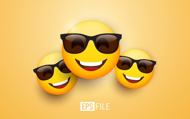 3d emoji met zwarte zonnebril en een vrolijke glimlach