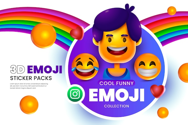 3d emoji'sachtergrond met smileygezichten