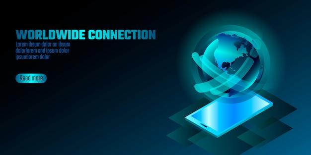 3d-enabled smartphone-concept. stereoscopische isometrische 3d-technologie voor bedrijfsinnovatie. blauwe ruimte bol vorm gloeiende gradiënt beweging afgeronde illustratie