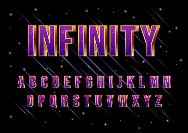 3d-film galaxy space lettertype alfabet ingesteld