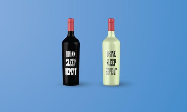 3d-flessen van rode en witte wijn