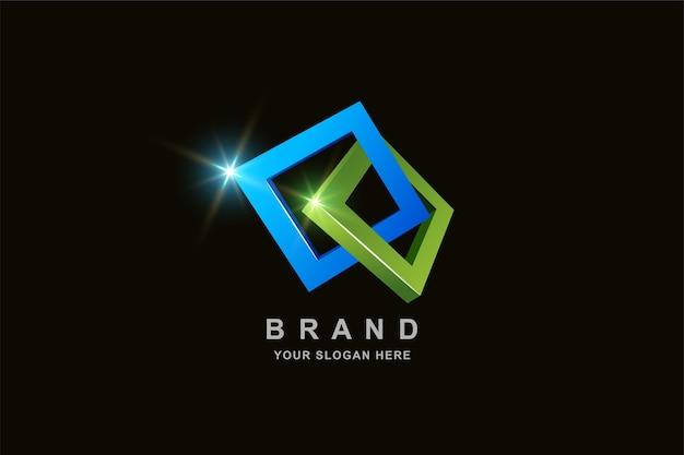 3d frame vierkant logo-ontwerp