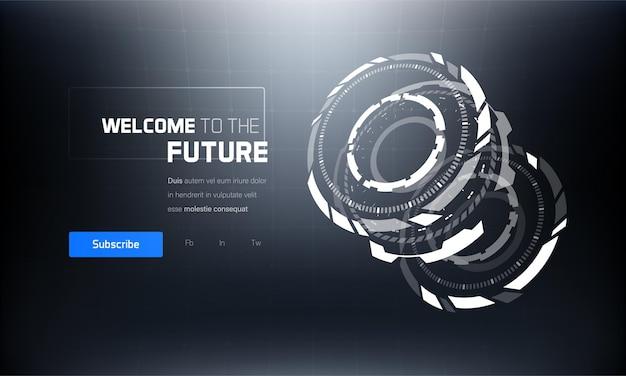 3d-futuristische banner van de technologiehud-interface
