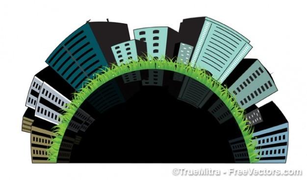 3d gebouwen op gras