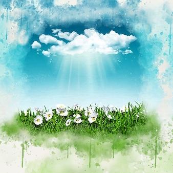 3d geef van madeliefjes in het gras met een zonnige regenwolk