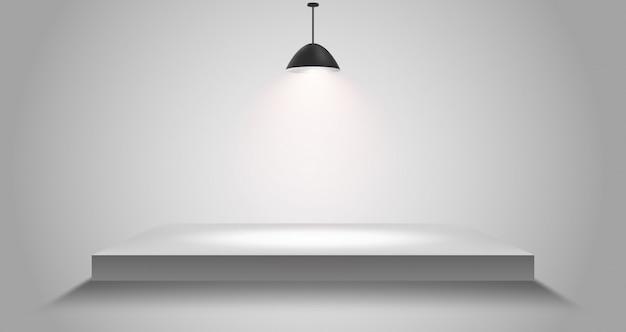 3d geïsoleerd leeg wit podium op grijs