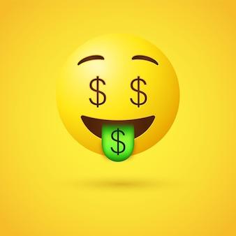 3d geld rijke emoji met dollars ondertekenen ogen en tong uit