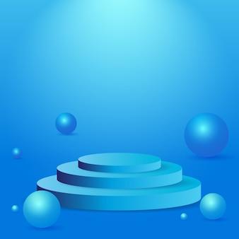 3d geometrisch lichtblauw podium voor productplaatsing en bewerkbare kleur