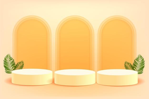 3d geometrisch podium voor productplaatsing met cirkelvormige achtergrond en bewerkbare kleur