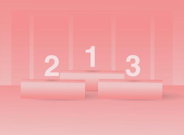 3d geometrische pastelroze podium minimale toneelscène voor productplaatsing