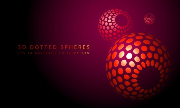 3d-gestippelde bollen. rode abstracte achtergrond.
