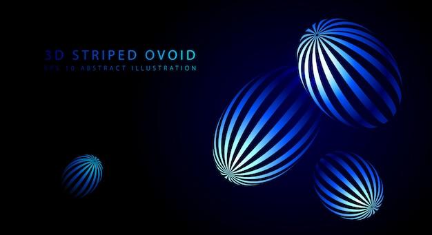 3d-gestreepte eicellen. blauwe abstracte achtergrond.