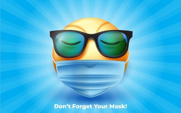 3d gezichtsmasker emoji met bril