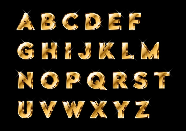 3d glanzende gouden alfabetten set