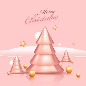 3d glanzende kerstbomen met gouden sterren